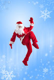 Santa Clause. Dancer blue background stock images