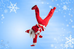 Santa Clause. Dancer blue background royalty free stock image