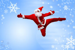 Santa Clause. Dancer blue background royalty free stock images