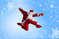 Santa Clause. Dancer blue background stock image