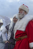 Santa Clause with Angel. Santa Clause portrait with an Angel, from Lanckorona. a small city near from Krakow. Every year in the Christmas time meet there a lot royalty free stock images