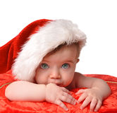 Santa Clause Baby with Hat on White Stock Photo
