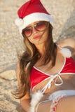 Santa Clause on the beach Royalty Free Stock Photo