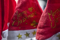 Santa clause hats for christmas stock photography