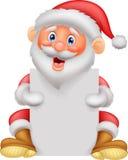 Santa clause cartoon holding blank sign Royalty Free Stock Photos