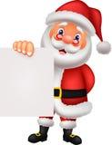Santa clause cartoon holding blank sign Royalty Free Stock Photo