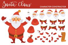 Free Santa Clause Character Constructor With Spare Bearded Face, Legs In Boots, Plump Body, Hands In Mittens, Long Paper List Royalty Free Stock Photos - 131764978