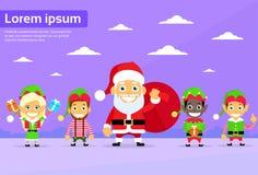Santa Clause Christmas Elf Cartoon-Karakter Stock Foto's