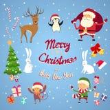 Santa Clause Christmas Elf Cartoon tecken - uppsättning stock illustrationer
