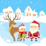 Santa Clause Christmas Elf Reindeer over Winter Stock Photo