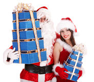 Santa clause, christmas girl with gift box group. Stock Image