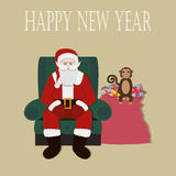 Santa Clause Christmas Monkey Cartoon Character. Flat Vector Illustration Stock Images