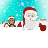 Santa Clause Christmas Monkey Cartoon Character. Flat Vector Illustration Royalty Free Stock Image