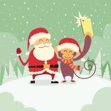 Santa Clause Christmas Monkey Cartoon-Charakter Stockfotos