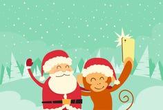 Santa Clause Christmas Monkey Cartoon-Charakter Lizenzfreies Stockbild