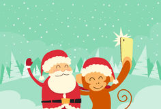 Santa Clause Christmas Monkey Cartoon tecken royaltyfri illustrationer