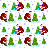 Santa Clause Christmas Tree Seamless-Patroon Royalty-vrije Stock Afbeeldingen