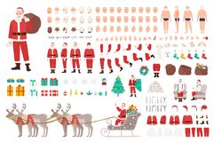 Santa Clause constructor or DIY kit. Collection of Christmas cartoon character body parts, clothes, holiday attributes. Isolated on white background. Front Royalty Free Stock Image