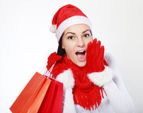Santa clause costume loud screaming. Young happy smile woman wear santa clause costume loud screaming, calling out to someone, or telling something secretly Stock Photo