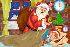 Santa clause with Cristmas gift Royalty Free Stock Image