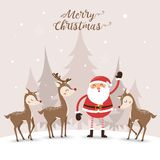 Santa Clause and cute deer in winter vector illustration