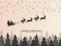 Santa Clause on deer sleigh flying over the forest in the night over the stars and the moon. Vector illustration. stock photos