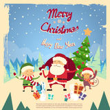 Santa Clause Elf Monkey Cartoon teckenvinter Arkivbild