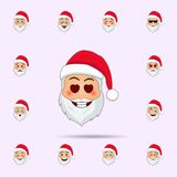 Santa Clause in eyes with hearts emoji icon. Santa claus Emoji icons universal set for web and mobile. On color background royalty free illustration