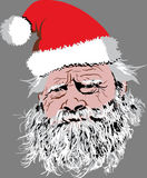 Santa Clause Face. Santa Clause looking not very merry and worn down Royalty Free Stock Photography