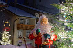 Santa Clause figure in the street of Gruyere Stock Photography