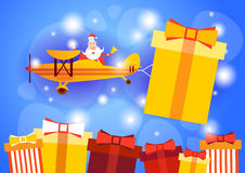 Santa Clause Flying Airplane Carrying Present Box Happy New Year Greeting Card Celebration Banner. Santa Clause Flying Airplane Carrying Present Box Happy New vector illustration