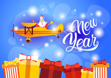 Santa Clause Flying Airplane Happy New Year Decoration Greeting Card Celebration Banner. Flat Vector Illustration royalty free illustration