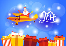 Santa Clause Flying Airplane Happy New Year Decoration Greeting Card Celebration Banner. Flat Vector Illustration stock illustration