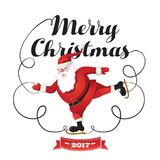 Santa Clause going to celebration Christmas. Characters set. Holiday  illustration Royalty Free Stock Photo