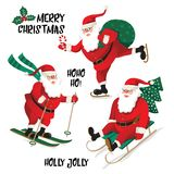 Santa Clause going to celebration Christmas. Characters set. Holiday  illustration.  Stock Image