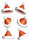 Santa Clause Hat 3d vector. Santa Clause Hats 3d illustration vector with  difference dimension Royalty Free Stock Images
