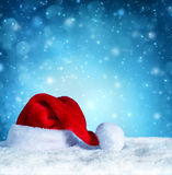 Santa clause hat with snow - blue Stock Photos
