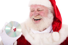 Santa Clause holding dvd Stock Photo