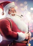 Santa Clause holding sparkler Christmas background vector illustration