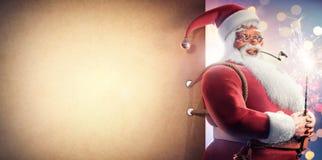 Santa Clause holding sparkler Christmas background royalty free illustration