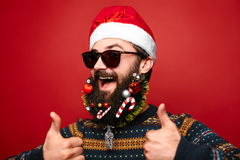 Santa Clause horizontal. Happy New Year. Marry Christmas. Decorated beard stock photography