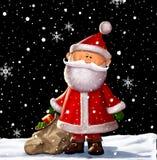 Santa Clause Illustration. Cute christmas santa with a sack of toys illustration Stock Photos