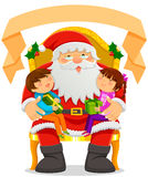 Santa clause and kids vector illustration