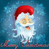 Santa Clause. Laughing on a blue snowflake background Stock Images