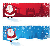 Santa Clause cartoon Banners. Santa clause placed in two different scenes. Christmas themed Royalty Free Stock Photography