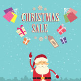 Santa Clause Point Finger Up Christmas Sale Show. Gift Box Present Retro Flat Vector Illustration Stock Photography