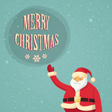 Santa Clause Point Finger Up Christmas Sale Show. Gift Box Present Retro Flat Vector Illustration Royalty Free Stock Image