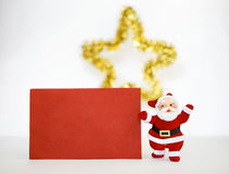 Santa clause and red paper card Royalty Free Stock Image
