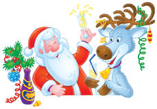 Santa Clause and Reindeer Stock Photos