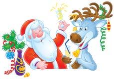 Santa Clause and Reindeer Stock Photos